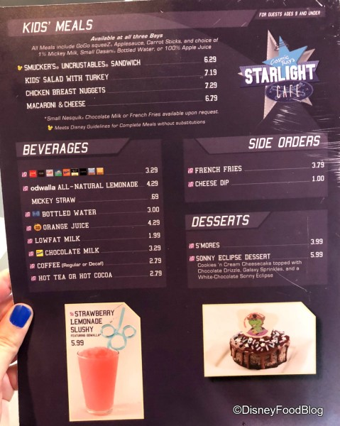 Cosmic Rays Starlight Cafe Menu