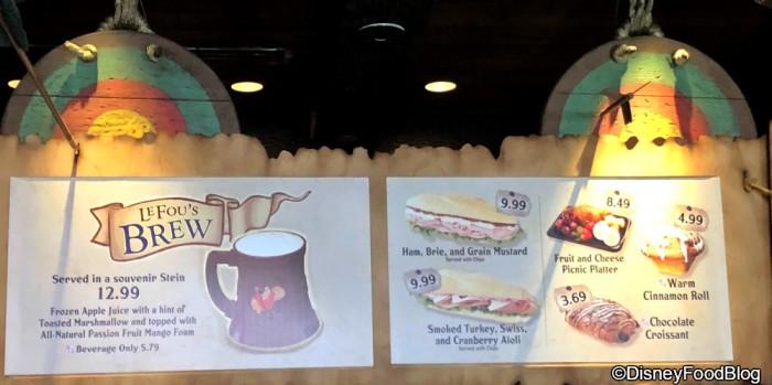 Gaston's Tavern Menu