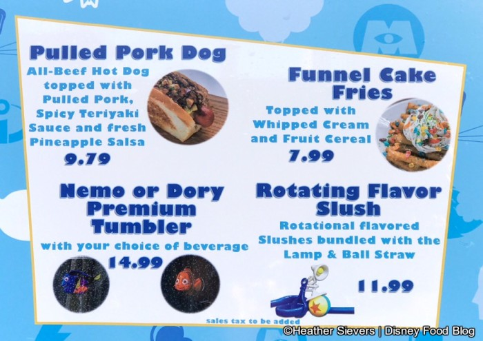 Pixar Fest Menu at Award Wieners