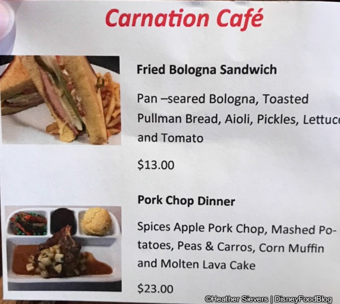 Carnation Cafe's Pixar Fest Menu