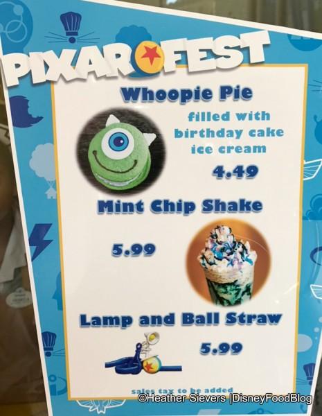 Schmoozie's Pixar Fest Menu