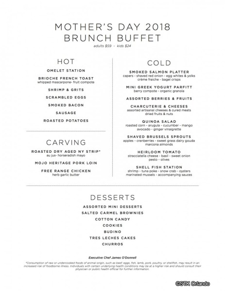 Mothers' Day Brunch Menu -- STK Orlando