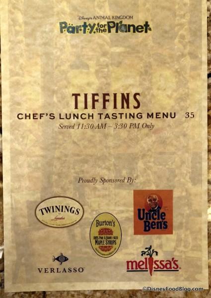Tiffins Chef's Lunch Tasting Menu