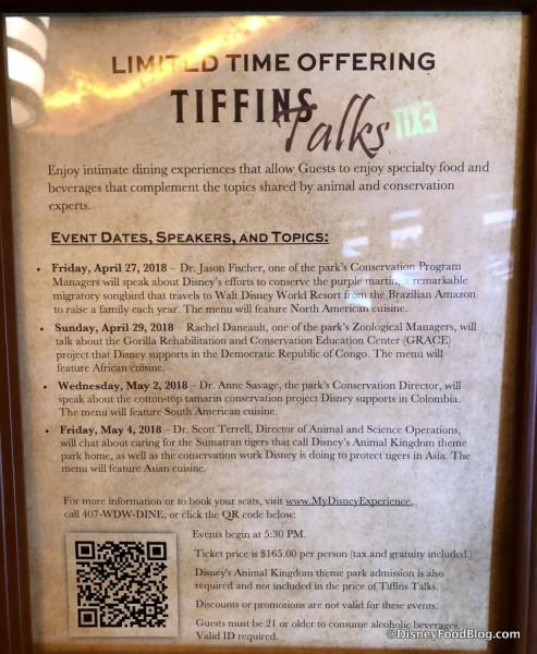 Tiffins Talks information