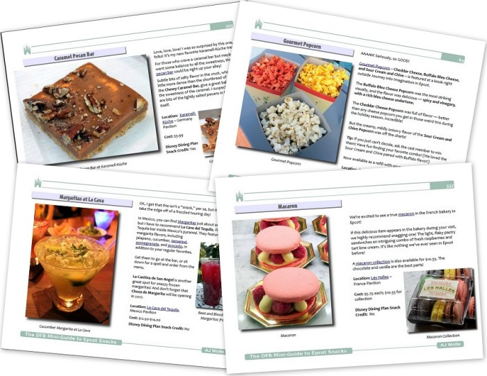 Samples pages from the DFB Guide to Epcot Snacks