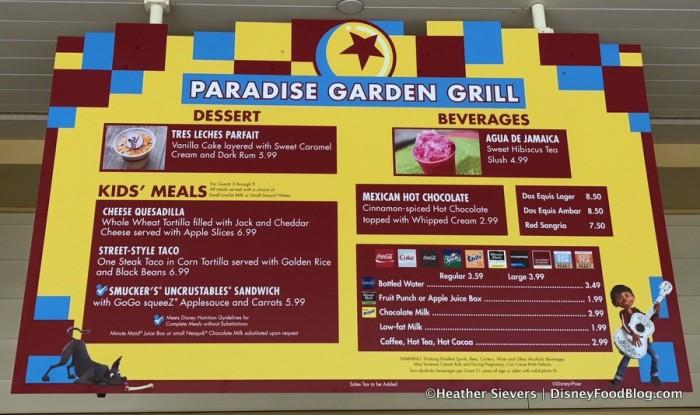 Paradise Garden Grill Pixar Fest Menu