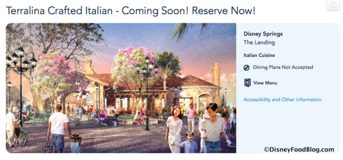 Screenshot of Terralina Crafted Italian page on Disney World website