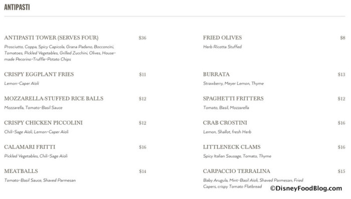 Screenshot of Antipasti Menu
