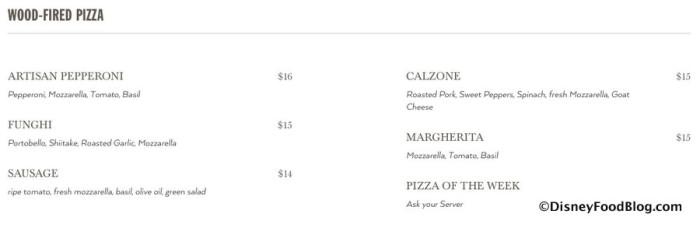 Screenshot of Wood-Fired Pizza Menu
