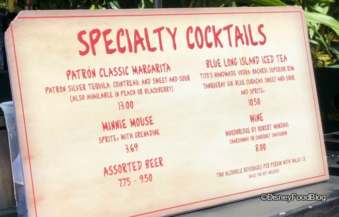 Echo Lake Pop Up Bar Menu