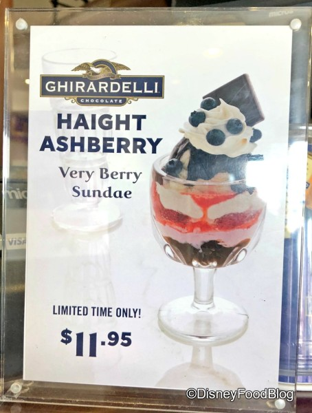 Ghirardelli Haight Ashberry Sundae