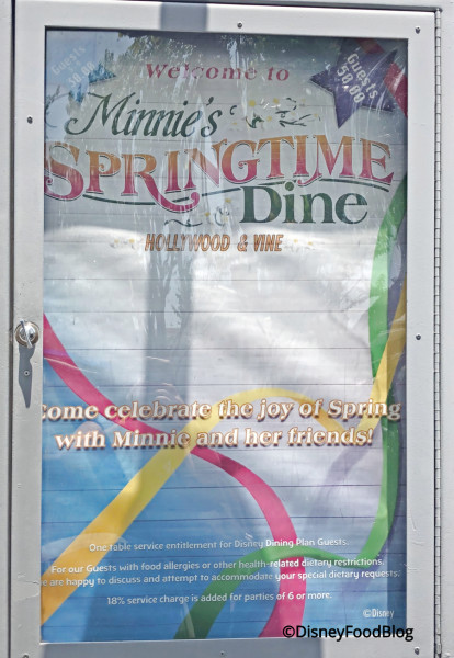 Hollywood and Vine is now Minnie's Springtime Dine