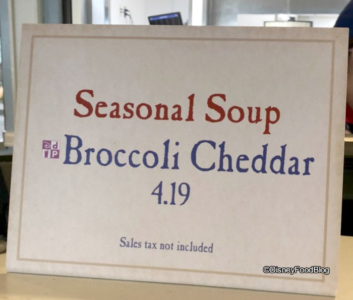 Seasonal Soup at Liberty Inn in the American Adventure