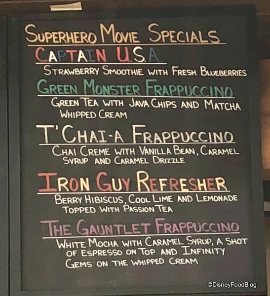 Marketplace Starbucks Superhero Menu