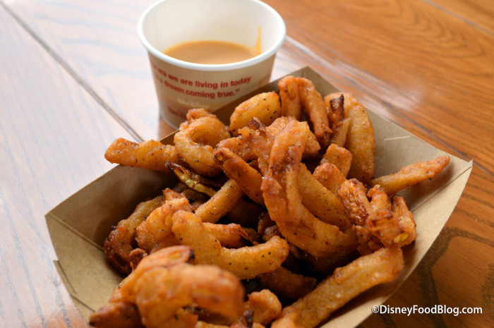 Onion Straws with Texas Petal Sauce