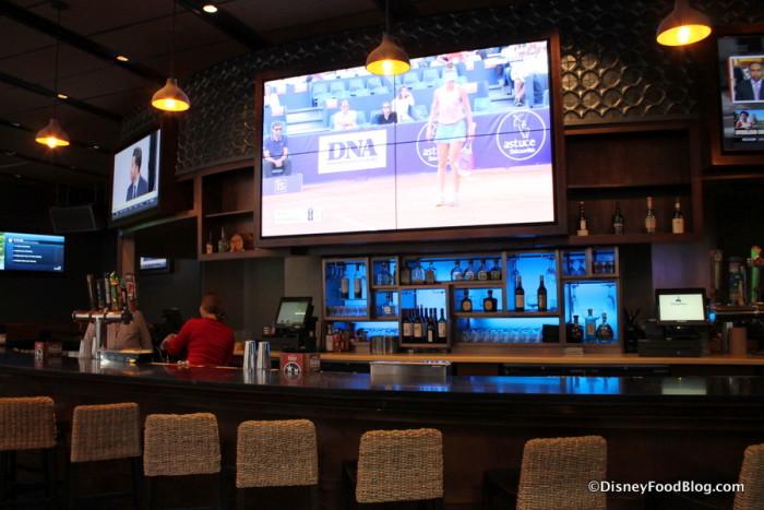 Large television at the bar