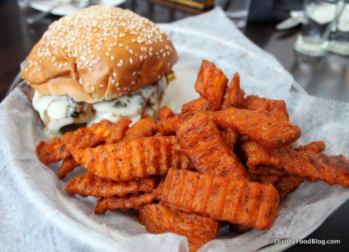 Queso Fundido Burger with Sweet Potato Fries