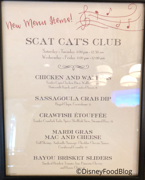 Scat Cat's Club New Menu
