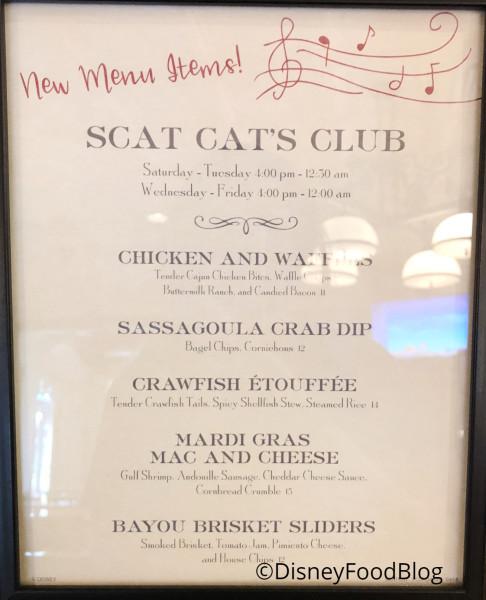 Scat Cat's Club New Menu