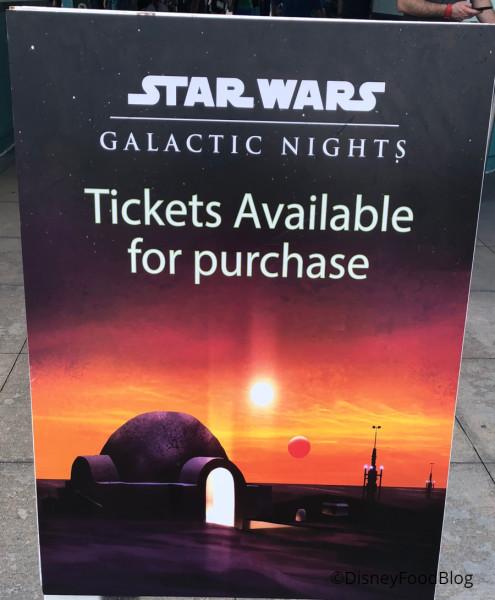 Star Wars Galactic Nights Tickets Signage