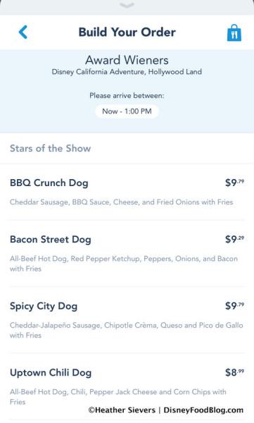 Award Wieners Menu Screenshot on Mobile Order
