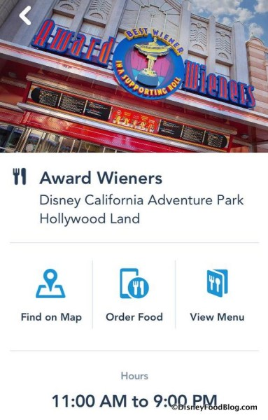 Award Wieners Mobile Order Screenshot