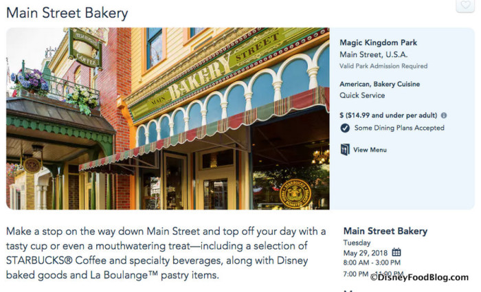 Main Street Bakery page screenshot