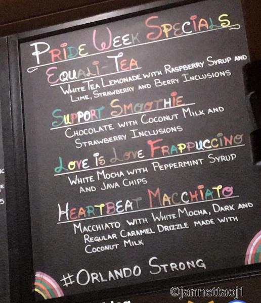 Starbucks Rainbow Menu