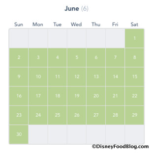Disney California Adventure Deluxe Passport Calendar screenshot for June 2019