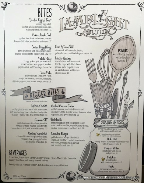 Lamplight Lounge Food Menu