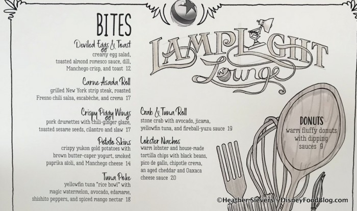 Lamplight Lounge Bites Menu