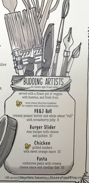 Budding Artists Menu