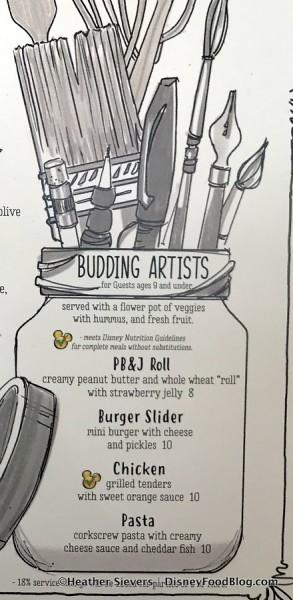 Budding Artists Menu