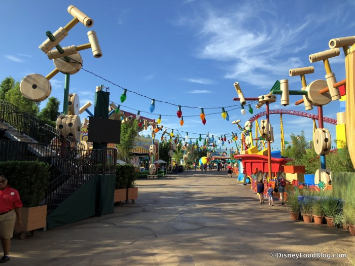 Christmas Lights hang above Toy Story Land
