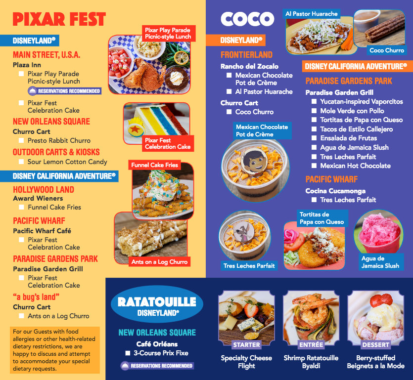 Pixar Fest Food Guide Now Including Food from Pixar Pier! | the ...