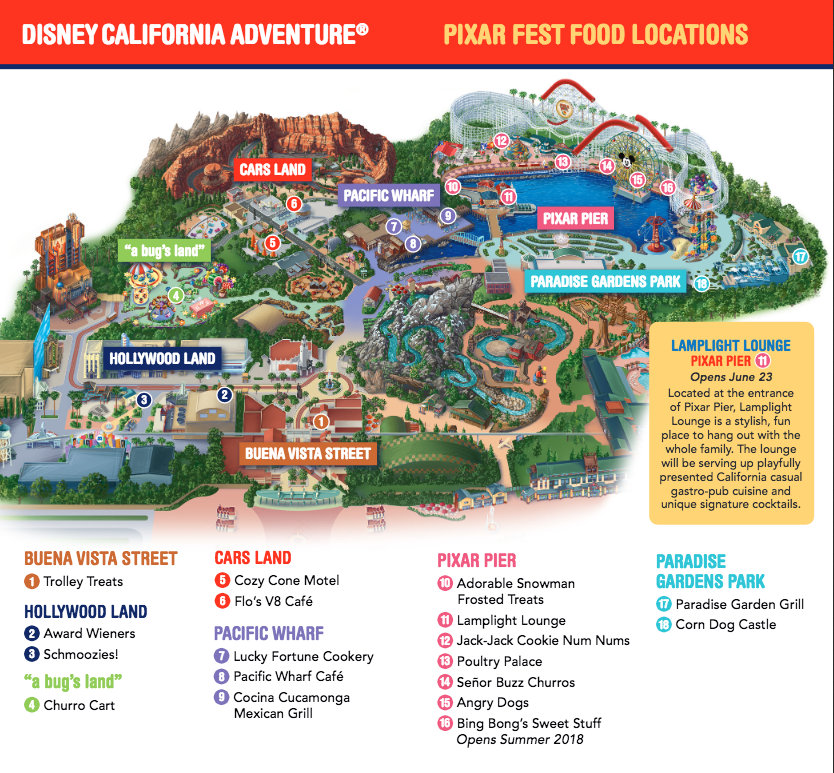Map Of California Disney.Pixar Fest Food Guide Now Including Food From Pixar Pier