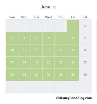 Disney Deluxe Passport Calendar screenshot for June 2018
