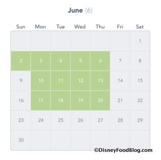 Disney Deluxe Passport Calendar screenshot for June 2019