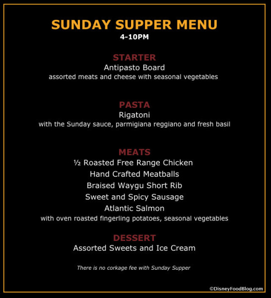 Sunday Supper Menu screenshot