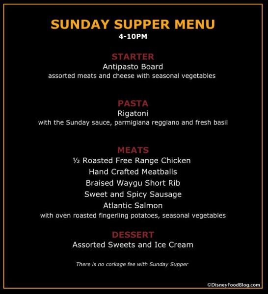 Sunday Supper Menu screenshot