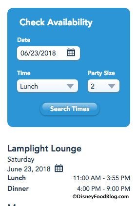 Lamplight Lounge reservation screenshot