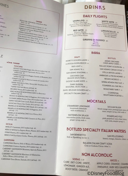 Maria & Enzo's Drinks Menu
