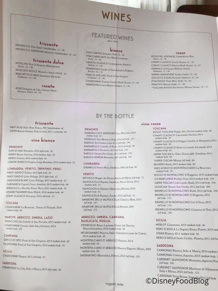 Maria & Enzo's Wine List