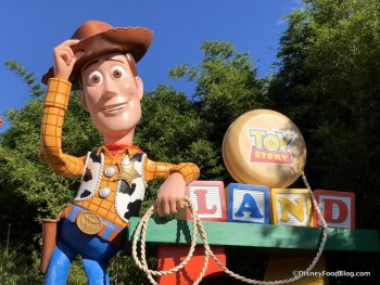 "Woody says, ""Howdy!"" at Toy Story Land!"