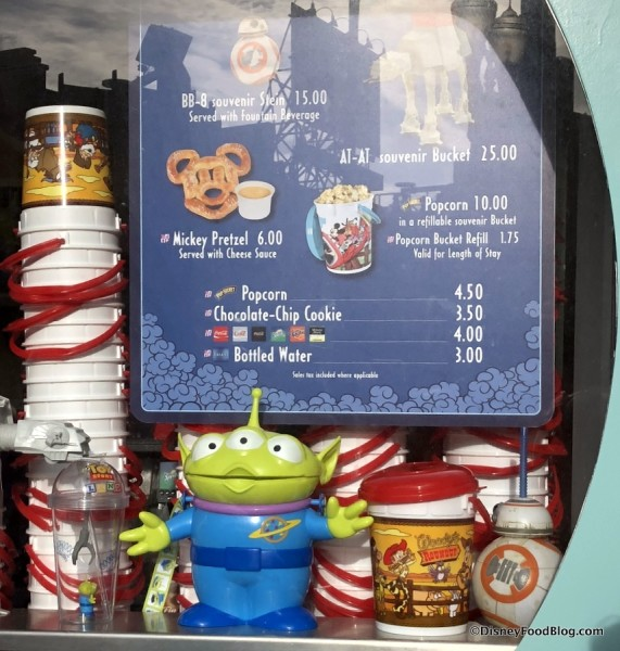 Little Green Alien and Woody's Roundup Popcorn Buckets