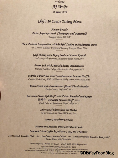 Ten-Course Menu at Victoria & Albert's