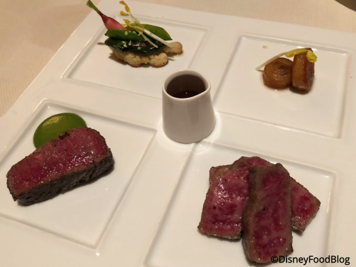 Australian Kobe-Style Beef with Potato Pinwheel, Ramps, and Mizyaki Japanese Beef Add-On