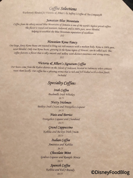 Victoria & Albert's Coffee Menu