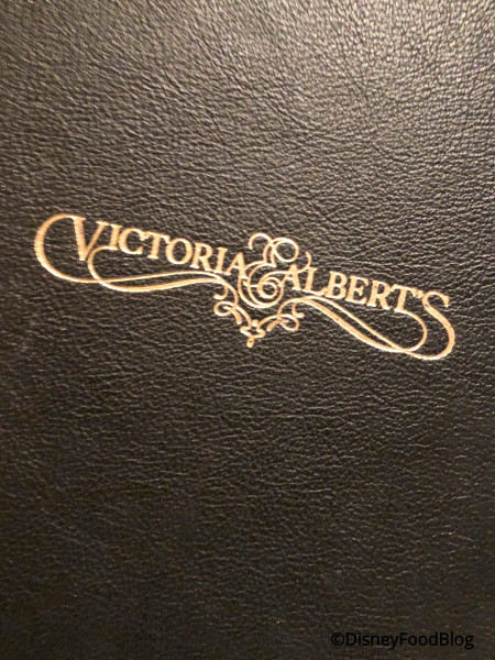 Victoria & Albert's Menu Cover