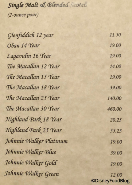 Victoria & Albert's Scotch Menu
